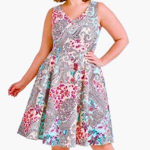 3X Eva Rose Light Blue Paisley Fit & Flare Dress